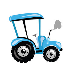 a cartoon tractor a blue vector image