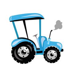 a cartoon tractor blue vector image