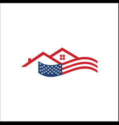 American flag and house home realty logo vector