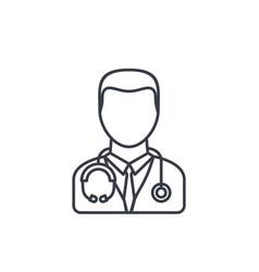 Avatar doctor whit phonendoscope thin line icon vector