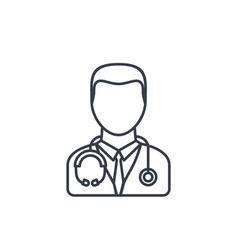 Avatar doctor whith phonendoscope thin line icon vector