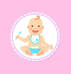 Baby shower greeting card infant boy eats vector