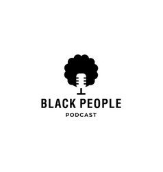 Black people head with afro hair podcast logo icon vector