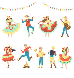 brazilian festa junina party happy men and women vector image