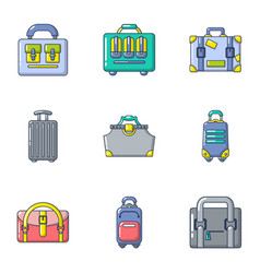 business backpack icons set cartoon style vector image