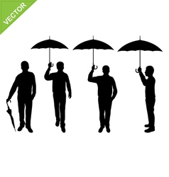 Business man silhouettes holding umbrella vector image
