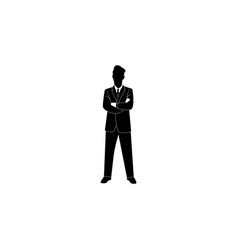 businessman crossing his hands icon black on white vector image