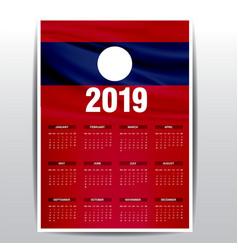 Calendar 2019 laos flag background english vector