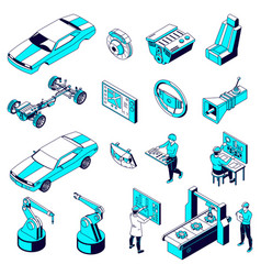 Car parts production icons vector