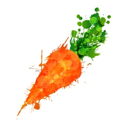 Carrot made of colorful splashes vector