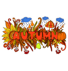 cartoon colorful autumn word with doodle elements vector image
