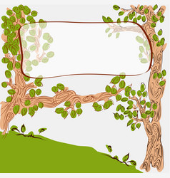 Cartoon cute trees with banner on branch vector