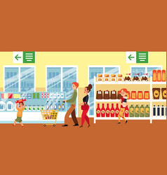 cartoon family in supermarket - flat banner with vector image