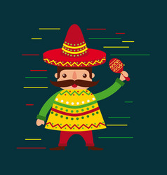 cartoon mexican man in a hat with maraca and vector image