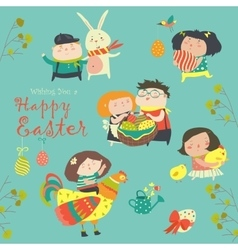 Characters and icons on the Easter theme in vector image