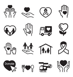 Charity icons set vector