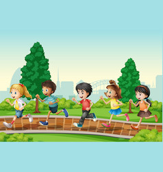 Children running in urban park vector