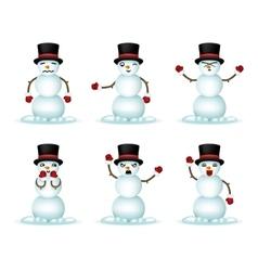 Christmas Snowman Smile Emoticon Icons Set vector