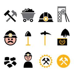 coal mine miner icons set - mining industr vector image