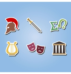 color icons with greece symbols vector image
