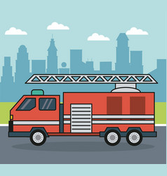 colorful background with firetruck on the vector image