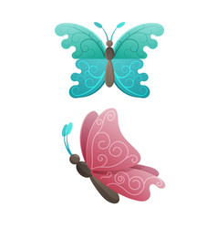 colorful butterflies in pink and blue wings colors vector image