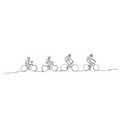 Continuous line family on bicycles go to walk vector