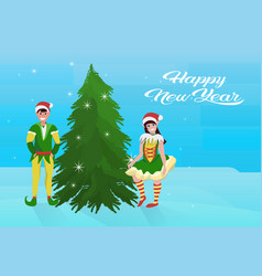 couple boy girl elf costume near fir tree happy vector image