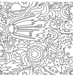 crazy cartoon seamless pattern with satelite vector image