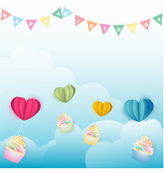 cupcakes with paper hearts balloon on cloud vector image