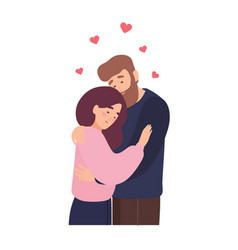 Cute couple in love adorable young man and woman vector