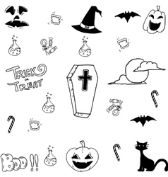 Cute halloween doodle art vector image