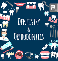 Dentistry and orthodontics poster vector