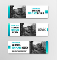 design of horizontal white banners with blue vector image