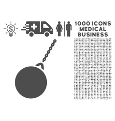 Destruction Hammer Icon with 1000 Medical Business vector