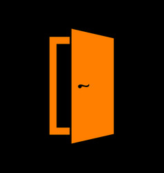 Door sign orange icon on black vector