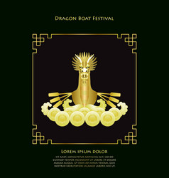 dragon boat luxury gold template vector image