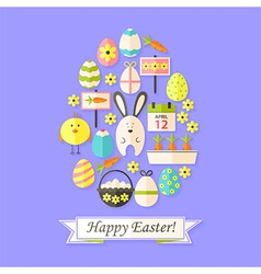 Easter Holiday Card with Flat Icons Set Egg shaped vector image