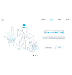 Email marketing - line design style isometric web vector