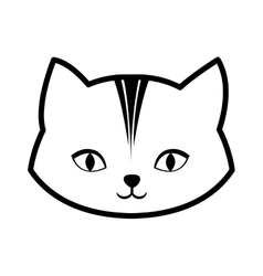 face cat feline curious small outline vector image