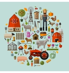 Farm in the village A set of elements - house vector