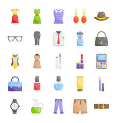 Fashionwear apparel flat icons pack vector