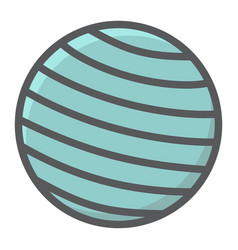 fitness rubber ball filled outline icon fitness vector image