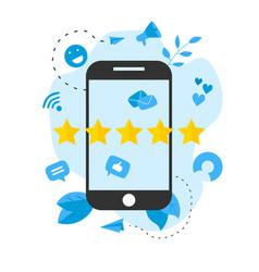 Five star customer online rating vector