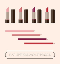 Flat set of lipstick and lip liner vector