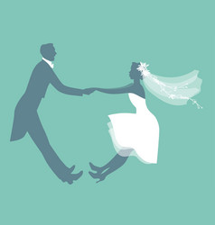 Funny wedding couple dressed vintage style vector