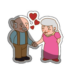 Grandfather and grandmother lovely couple cartoon vector