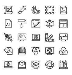 Graphic designing icons pack vector