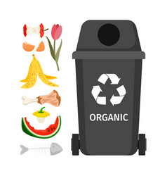Grey garbage can with organic elements vector