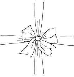 Hand drawn bow ribbon vector